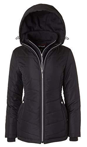 Women's Down Alternative Quilted Midlength Vestee Puffer Jacket with Fleece Hood - Black (3X)