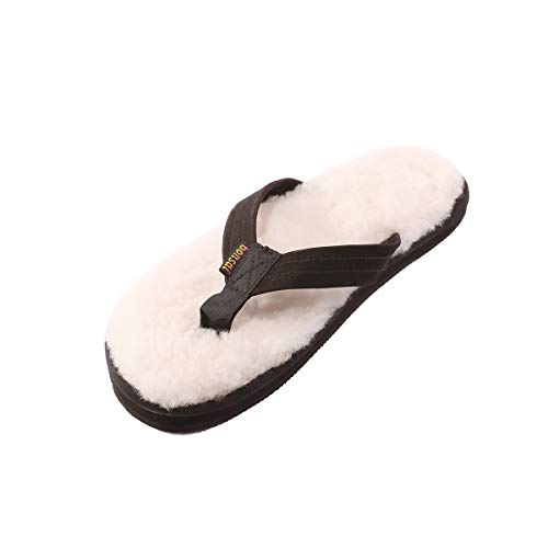 Bonsai Sandals Mens Sheepskin Sandal (12, Black)