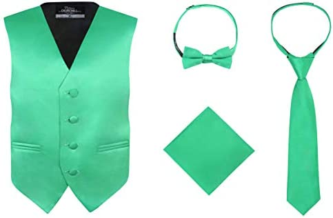 S H Churchill Co Boy s 4 Piece Vest Set with Bow Tie Neck Tie Pocket Hankie Kelly Green Size product image