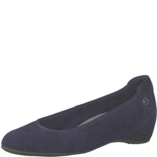 Tamaris 1-1-22421-22 Damen Keilpumps,Pumps,Keilabsatz,Wedge-Pumps,modisch,bequem,Fashion,Touch-IT,Navy Suede,39 EU