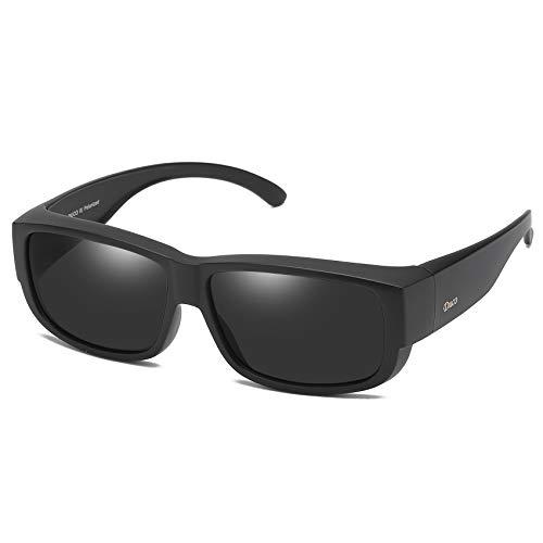 DUCO Unisex polarisierte Sonnenbrillen Überziehbrille Fit-Over Brille Korrekturbrille RX Brille 8956 (Schwarz)