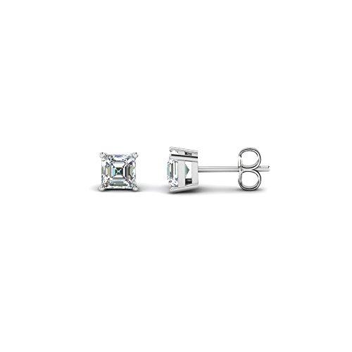 Pendientes de tuerca con diamante solitario de corte Asscher de 4 a 8 mm, chapados en oro blanco de 14 quilates de plata de ley 925