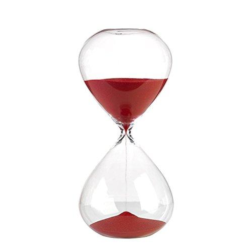 Unbekannt Sanduhr 90min roter Sand - pols potten, altes Zeitmessgerät im modernen Design, auffälliges Wohnaccessoire mit Zeitmessfunktion