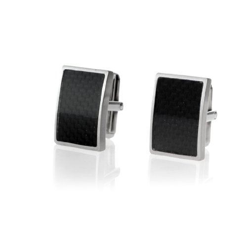 Boutons de manchette en acier inoxydable pour homme avec karboneinlage 316L- carbone mat poli-cL051.08 largeur 20 mm