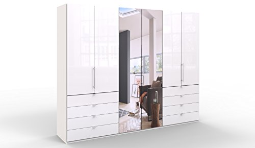 WIEMANN Loft Kleiderschrank, Schlafzimmerschrank, Gleittürenschrank, Drehtürenschrank, mit Spiegel, Schubladen, Glas, weiß, B/H/T 300 x 236 x 58 cm