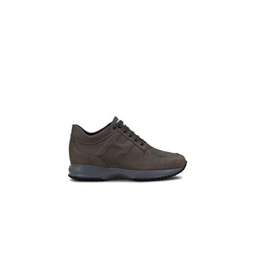 Hogan - Sneakers Uomo Interactive in Nabuk Grigio Marrone - HXM00N00010DSCB611 - Taglia 10 UK Man