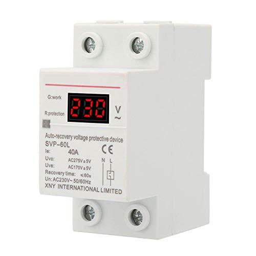 Dispositivo di Protezione di Tensione 230V 40A, Protezione Automatica da Sovratensione e Sottotensione Protezione per Montaggio su Guida DIN