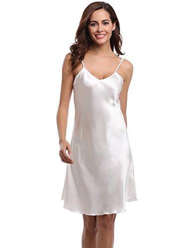 Aibrou Damen Sexy Negligee Nachthemd Satin Nachtkleid Nachtwäsche Unterwäsche Sleepwear Kurz Trägerkleid V Ausschnitt Weiß XXL