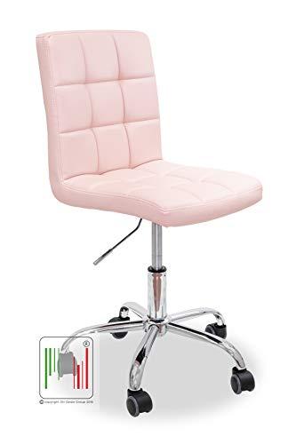 Stil Sedie - Sedia Girevole scrivania Ufficio ergonomica Imbottita - Sedia Studio Regolabile con Ruote Colore (Rosa)