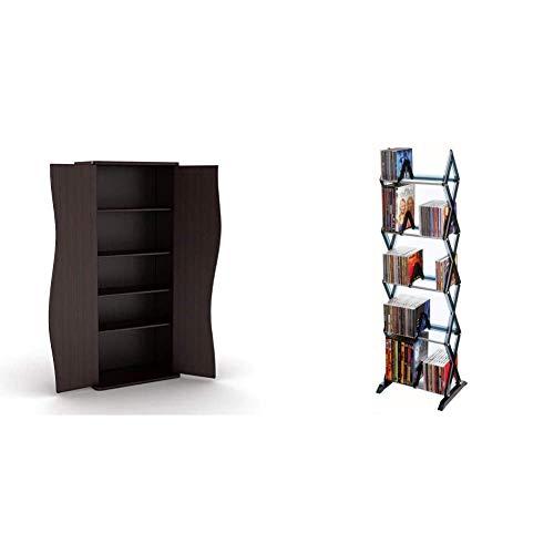 Atlantic Venus Media Storage Cabinet in Espresso & Mitsu 5-Tier Media Rack - 130 CD or 90 DVD/BluRay/Games in a Space Saving, Customizable Clear Smoke Finish, PN64835195