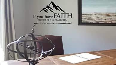Wandaufkleber Beatete Faith The Size of a Senf Seed Mountain Wall Sticker Faith Decal Sign Christian Vinyl Decal Sign Bibel Script