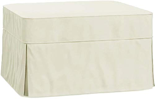The Cotton Ottoman Slipcover Replacement. It Fits Pottery Barn PB Basic Ottoman. Dense Cotton Sofa Footstool Cover (Beige)