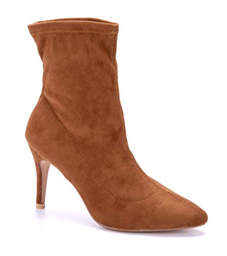 Schuhtempel24 Damen Schuhe Klassische Stiefeletten Stiefel Boots Camel Stiletto schlupf 8 cm