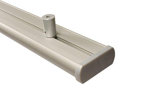 Aluminium Gardinenschiene 3 läufig in alu Silber mit Deckenträgern, 200 cm