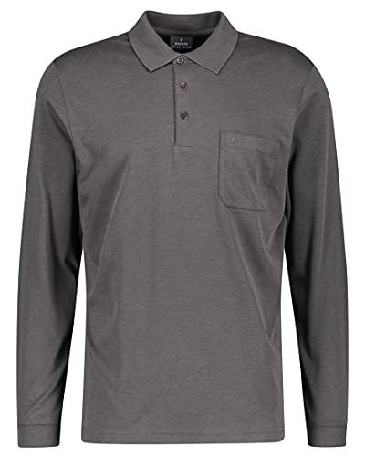 RAGMAN Herren RAGMAN Langarm Softknit Poloshirt, Anthrazit (019), L