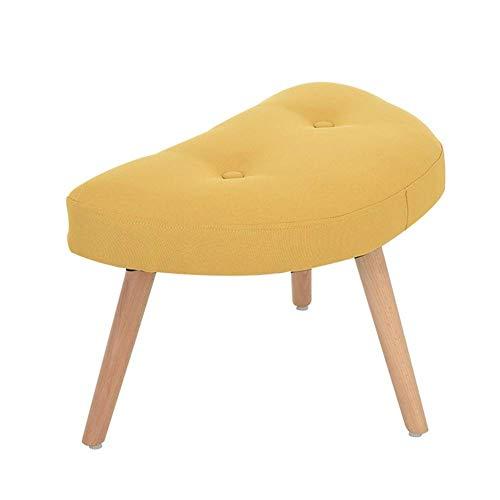 YLCJ Gepolsterter Hocker Ottoman Round Pouffe Holzbeine Round Big Checkered (Farbe: Gelb, Größe: 55 * 36 * 37cm)