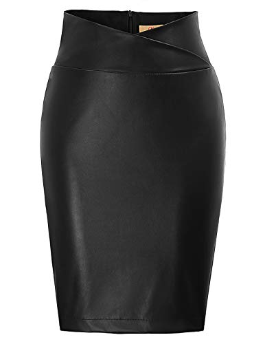 high Waist Rock für Damen Knielang Business Rock schwarz Bleistiftrock CL05-1 L
