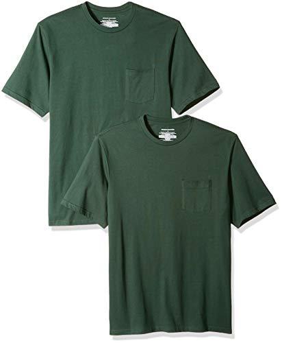 Amazon Essentials - Pack de 2 camisetas de manga corta y corte holgado con cuello redondo y bolsillo para hombre, Verde (Dark Green Dar), US S (EU S)