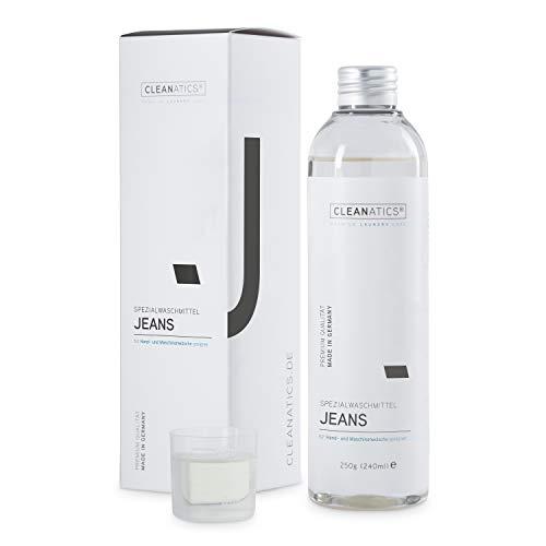 CLEANATICS Jeanswaschmittel - verhindert Verblassen der Waschung - Denim Waschmittel Konzentrat für frischen Duft bei Jeans Hosen, Jeansjacke, Jeansrock, Jeanskleid, Jeanshemd, Denim Shirt - (250 g)