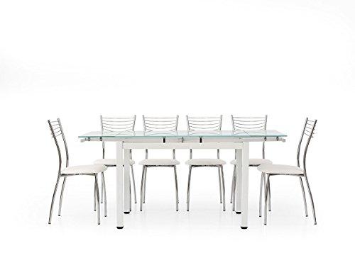 Lo Scrigno Arredamenti, Tavolo Rettangolare allungabile Piano Vetro 110-170 W608/M