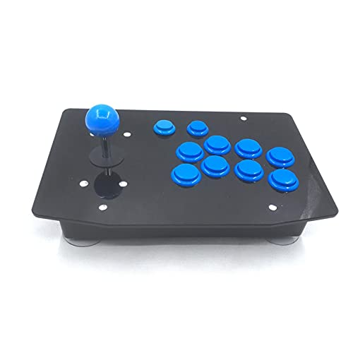 DINGSONGYANG Arcade Fighting Stick Retro Game Console All In One 128g Raspberry Pi 3B 15000 Juegos (Color : Blue)
