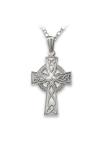 Biddy Murphy Celtic Cross Necklace Sterling Silver Single Sided 18 Inch Chain Made in Ireland