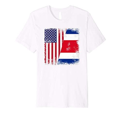 Half Costa Rican Flag T-Shirt | Vintage Costa Rica USA Gift