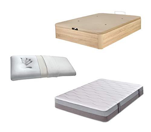 DHOME Pack Canape abatible tapizado 3D Madera + Colchón viscografeno, Reversible mas Almohada viscoelastica (150x200 Roble, 22mm + Colchón + Almohada Viscoelástica)