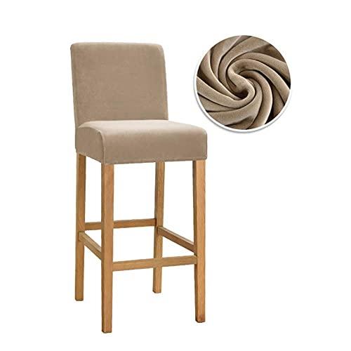 KTISMYRBBGFFSFD 1/2/4/6 Psc Velvet Elastic Stuhlbezug für Barhocker Short Back Dining Room Chair Schonbezug Stretch Case für Bankett-03,4 Stück