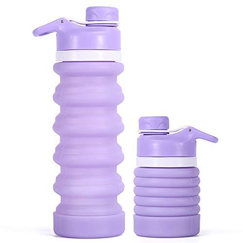iKiKin Botellas de Agua de Silicona Plegables sin BPA 550ml, Aprobado por FDA, Botella Agua Plegable Retráctil con Prueba de Fugas para Deportes al Aire Libre, 4 Colores Disponibles