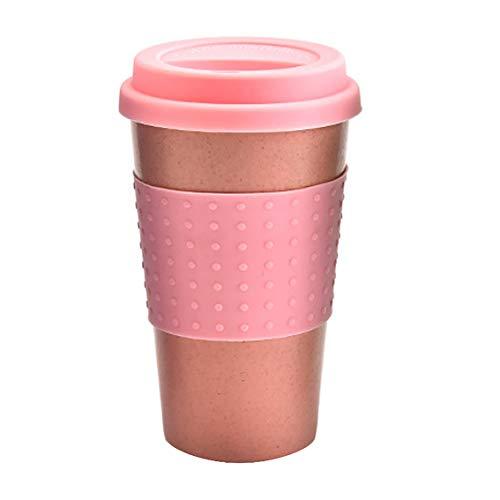 MICHETT Kaffeebecher to Go Aus Nachhaltigem Bambus(Pink) Mehrweg Coffee to Go Becher mit Deckel Aus Silikon Und Silikonmanschette Umweltfreundlich Lebensmittelecht 350 ml