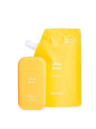 HAAN Desinfectante de Manos | DISPENSADOR en Spray (30 ml) + BOLSA DE RECARGA (100 ml) | Desinfectante Hidratante con Aloe Vera | Antiséptico | Aroma Citrus Noon