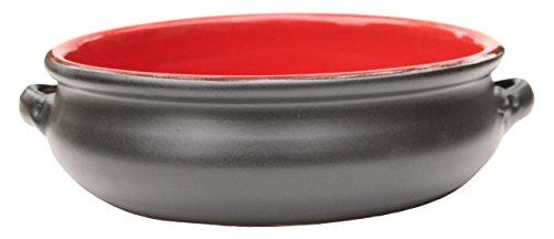 Amazing Cookware Plat Rond en Terre Cuite, en céramique, Noir Mat/Rouge, 25 cm