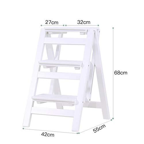 Huahua Meubilair Vouwtrapladder, 3-staps Kruk Vouwen Houten Trapleuning, Draagbare Ladder Hoge Kruk Multifunctionele Huishoudelijke Stepper - Belasting 150kg
