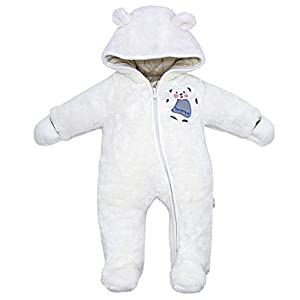 Vine Traje de Nieve Bebé Fleece Ropa de Invierno Footed Peleles Niños Niñas Cálido Mameluco con Capucha, Blanco 3-6 Meses