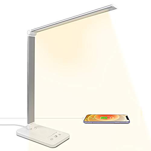 LED Schreibtischlampe Tageslichtlampe mit 10 Helligkeits- und 5 Farbstufen, Ultradünn, Augenschonende LED, Speicherfunktion, USB Ladeanschluss, Tischlampe für Kinder [Energieklasse A++] (Weiß)