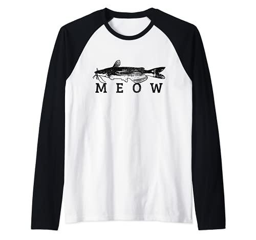 Bagre Meow Funny Catfishing Pesca Pesca Pescador Regalo Camiseta Manga Raglan