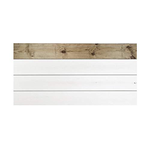 Decowood - Cabecero para Cama Dormitorio, Trillemarka Forest con Lamas Combinadas, Madera de Pino Envejecido y Blanco - 160 x 80 cm