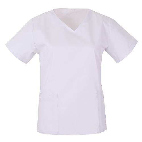 MISEMIYA - Casaca Cuello REFORMADO Manga Corta Uniforme Laboral CLINICA Hospital Limpieza Médico Enfermera - Ref.Q818 - L, Blanco