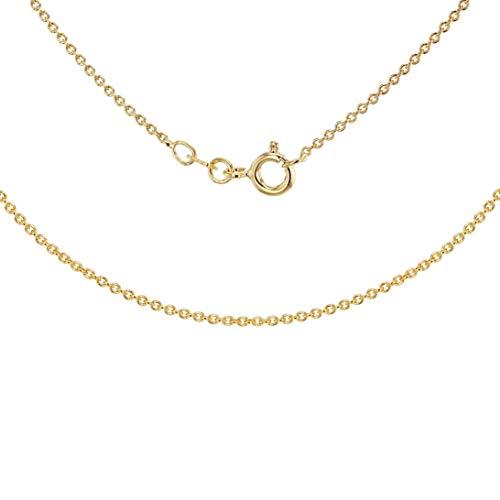 Tuscany Silver Collar para Mujer en Plata de Ley Chapada en Oro Amarillo, Cadena Rolo (Tubo de 035) - 46cm/18'