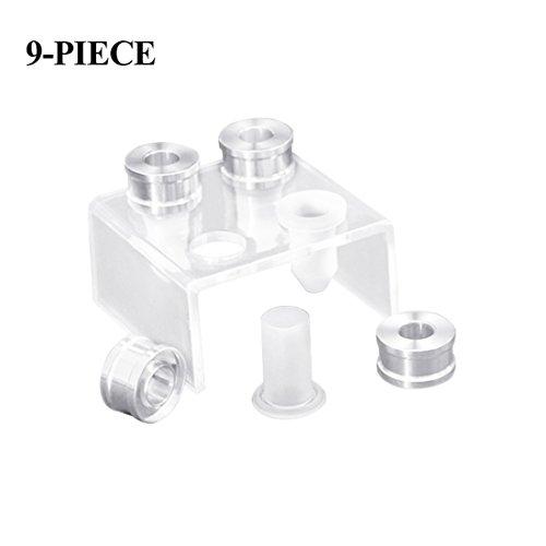 Cikuso 9 pezzi DIY 12,1 mm semplice tubo di riempimento del rossetto stampo in silicone anello in alluminio staffa quattro fori strumento fatto: becco; Rose; unghie; amore