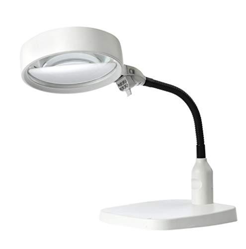 QQ GO Lupa - 10 Veces Lámpara De Lupa De Escritorio con Soporte, Iluminación LED Luz Electrónica Alta Resolución para Reparaciones De Reparación De Reparación De Soldadura