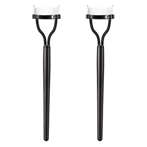 2 PCS Eyelash Comb, Makeup Mascara Applicator Metal Teeth Eyelashes Separator Curler Arc Designed False Eyelash Grooming Brushes