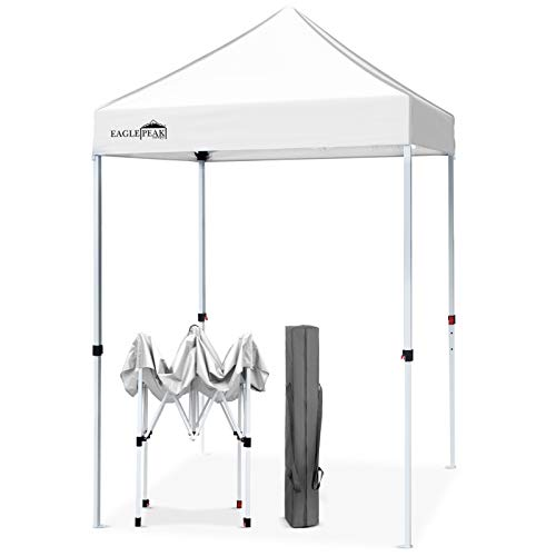 EAGLE PEAK 5' x 5' Pop Up Canopy Tent Instant Outdoor Canopy Easy Set-up Straight Leg Folding Shelter (White)