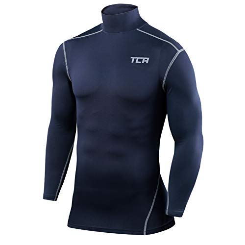 TCA Boys Pro Performance Compression Base Layer Long Sleeve Thermal Top Mock Neck Navy XL Boy 12 14 Years