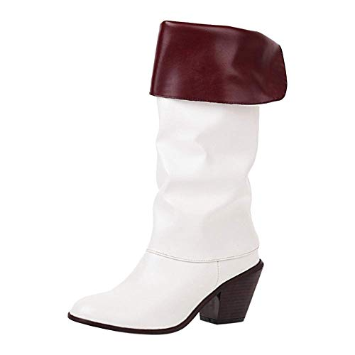 Bigtree Botas de Vaquero para Mujer Botas Altas hasta la Rodilla Botas de Moda de Cuero Plegables con Tacones de Bloque Blanco 36 EU