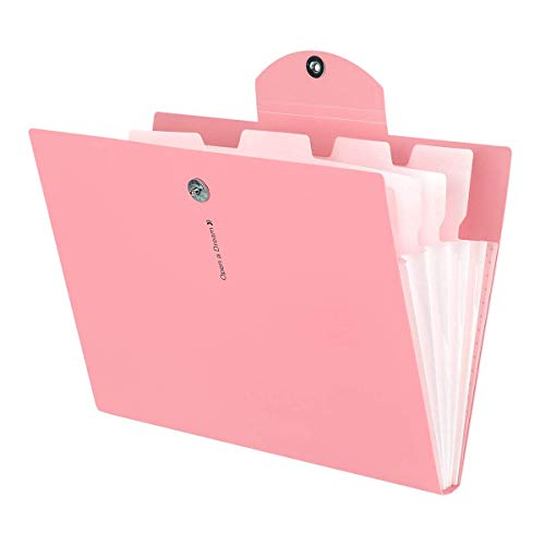 Guzack Expanding File Folder with 5 Pockets, Accordion Folder Paper Organizer A4 Letter Size Document Folders for School Office Home Business Trip (Pink)