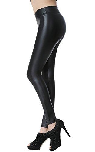 Everbellus Sexy Leder Leggins für Damen Stretch Skinny Hose Schwarz Medium