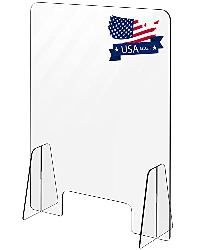 Acrylic Sneeze Guard - 23.6' W x 31.5' H with 3.9 Inch Cutout - Clear Sneeze Guard for Counter, Reception Desk, Office, Store - Protective Shield, security Partition Barrier and Splash Guard Protector