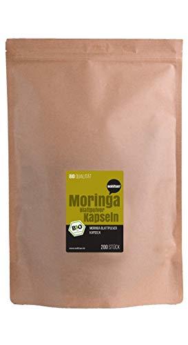 Weltuer Bio Moringa capsules Moringa Oleifera - 200 veganistische Bio Moringa capsules hoog gedoseerd I puur natuurlijk zonder additieven I biologische controle-instanctie: DE-ÖKO-006